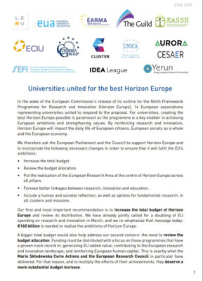 Joint Statements for the best Horizon Europe – November 2018