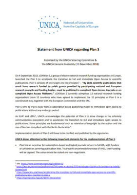 UNICA Statement on Plan S