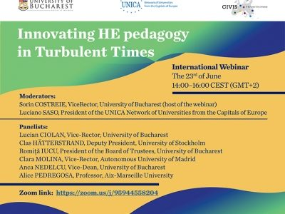 "Webinar ""Innovating HE Pedagogy in Turbulent Times"" (University of Bucharest, UNICA, CIVIS)"