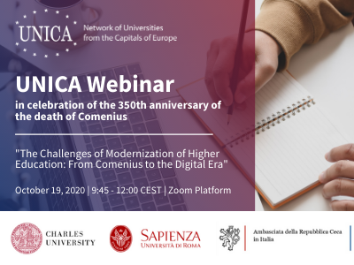 "UNICA Webinar ""The Challenges of Modernization of Higher Education: From Comenius to the Digital Era"""