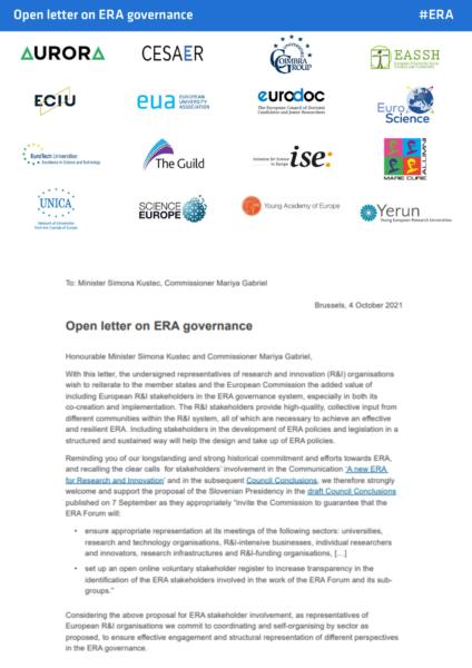 Open letter on ERA governance: call for stakeholder voice in governance